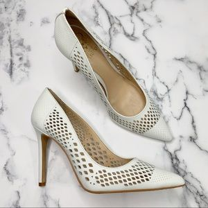 VINCE CAMUTO Nico Leather Pump Heel White Size 9.5